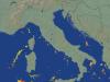 Numerosi fulmini rilevati nel Mediterraneo dal Radar, segno del costante aumento dell'instabilità man mano che prende forma la depressione
