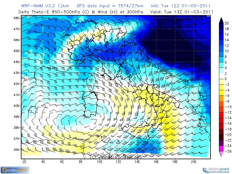 Temperature equivalenti potenziali in quota – 01 marzo 2011