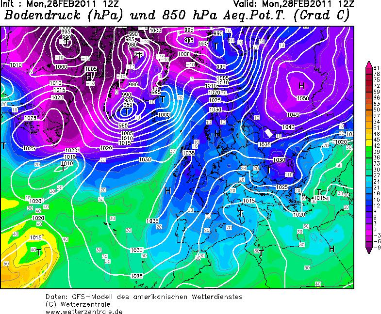 Analisi temperature equivalenti potenziali – 28/02/2011