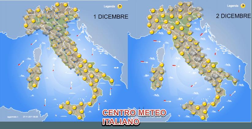 Previsioni Italia 1-2 Dicembre 2011