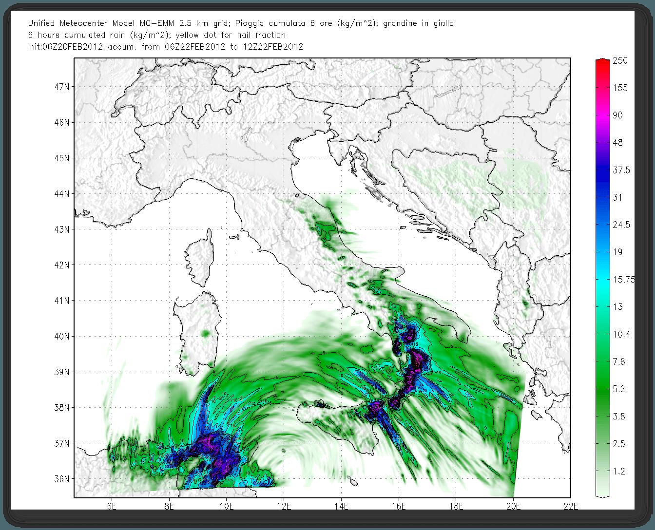 Modello EMM (MeteoCenter), forti accumuli Mercoledì sulle zone ioniche