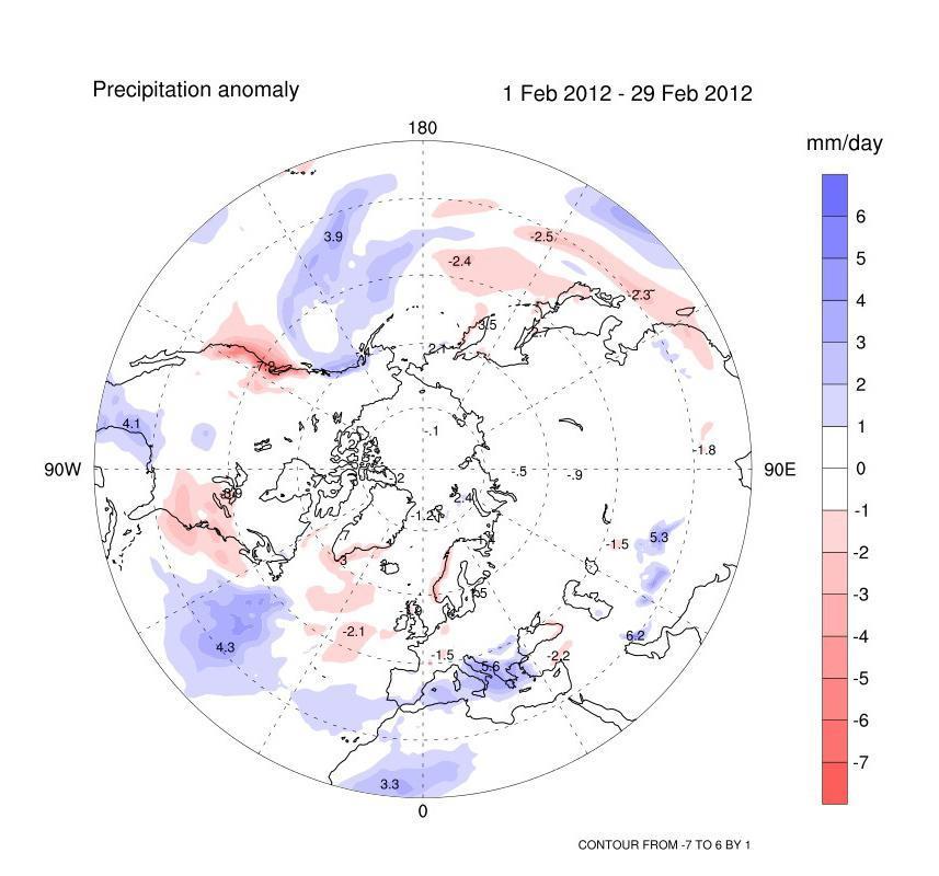 Anomalie delle precipitazioni previste per febbraio dal modello GLOBO CNR-ISAC.