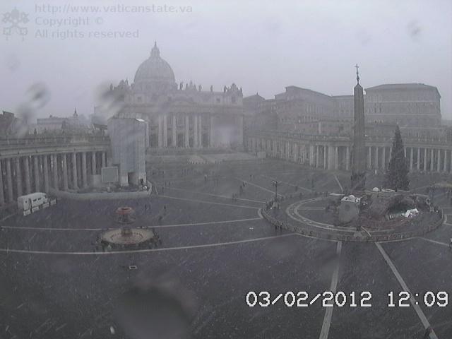 Webcam San Pietro all'inizio della bufera di neve 3 Febbraio 2012