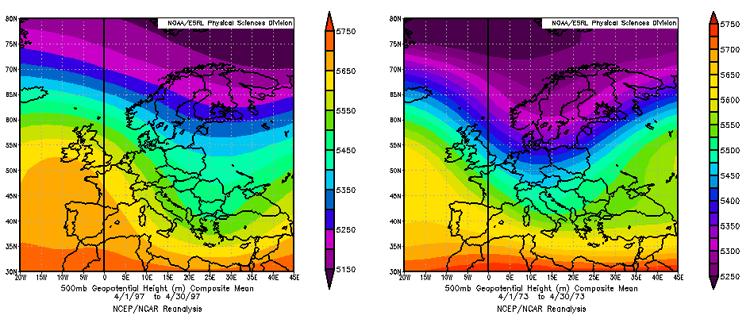 Geopotenziali a 500hPa nell'aprile '97 e '73. Fonte ESRL-NOAA.