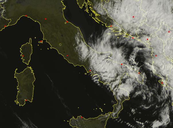 Instabilità sul basso versante adriatico e sulla puglia - meteo sat