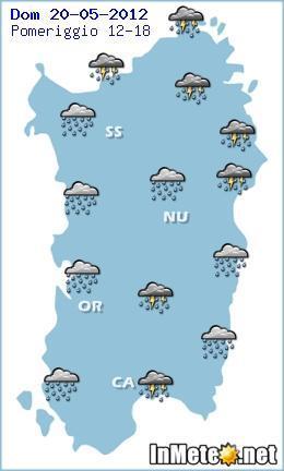 Previsioni Sardegna per il pomeriggio - forti piogge in arrivo
