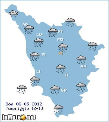 Previsioni Toscana oggi pomeriggio
