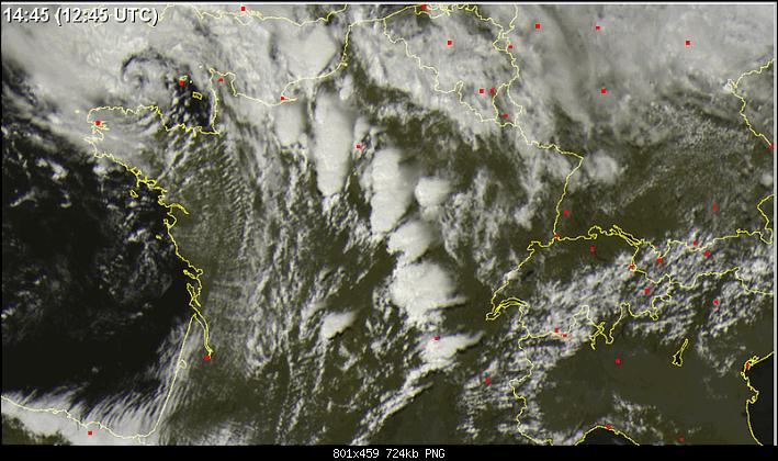 Temporali in Francia visti dal satellite