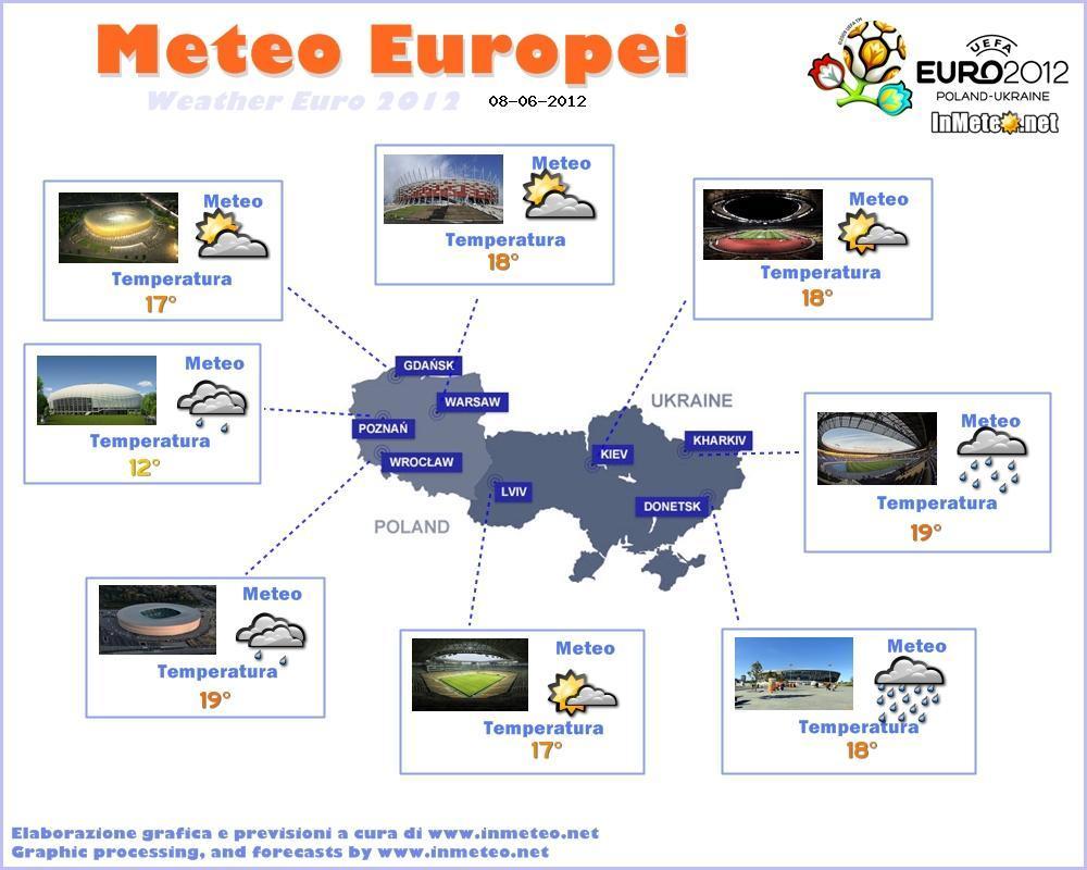 Previsioni del Tempo sugli stadi degli Europei 2012