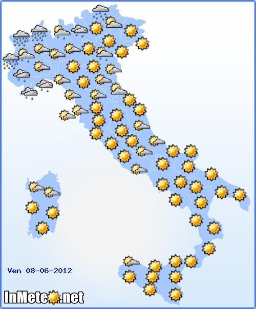 Previsioni Meteo Italia Venerdi 8 Giugno 2012