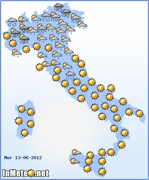 Meteo Italia Mercoledì 13 Giugno 2012