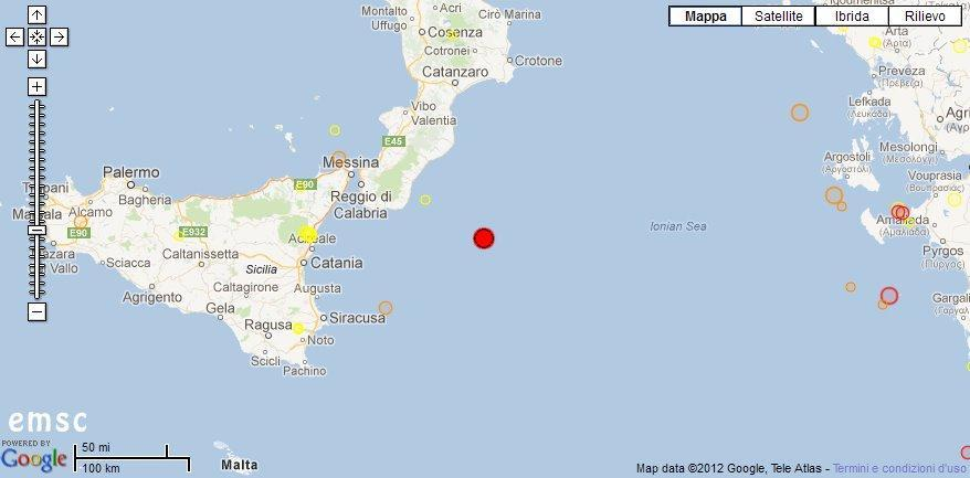 Forte terremoto Mar Ionio