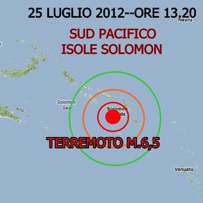 Terremoto Isole Salomon 25 Luglio 2012