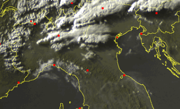 Temporali al Nord visti dal Satellite