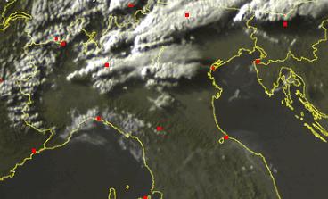 Temporali al Nord visti dal Satellite