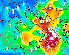 CAPE e Lifted Index alle ore 18Z (analisi GFS)