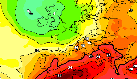 Previsioni Meteo Domenica 29 Luglio 2012 - Temperature a 850hpa, GFS