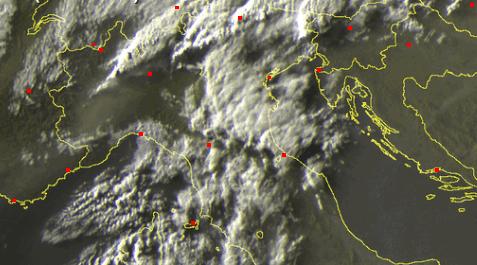 Piogge al Nord viste dal Satellite. ore 20.30