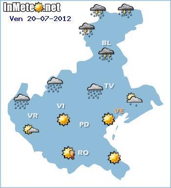 Meteo Veneto, temporali forti per il 20 Luglio 2012