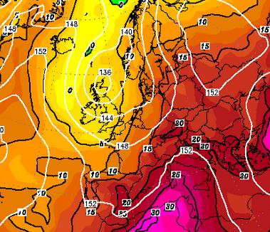 Previsione Meteo a 850 hPa per Sabato 28 Luglio 2012, caldo africano