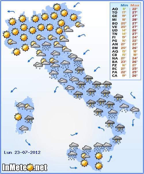 Previsioni Meteo 23 Luglio 2012, allerta meteo al Centro Sud