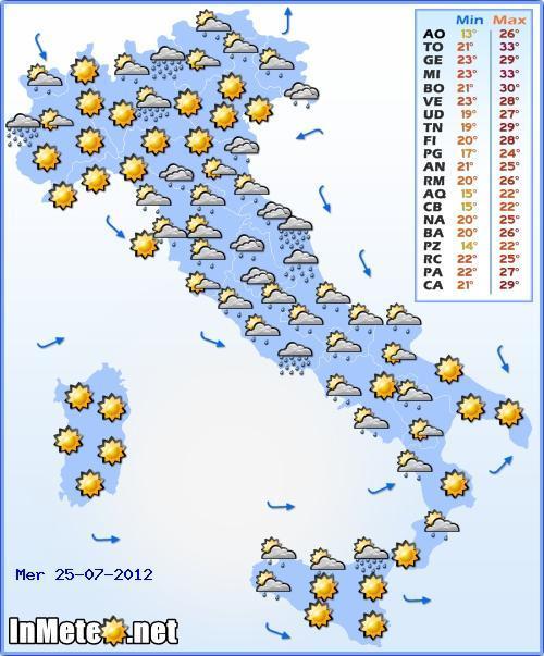 Previsioni Meteo Mercoledì 25 Luglio 2012, fenomeni sparsi più concentrati sull'Adriatico e basso Tirreno