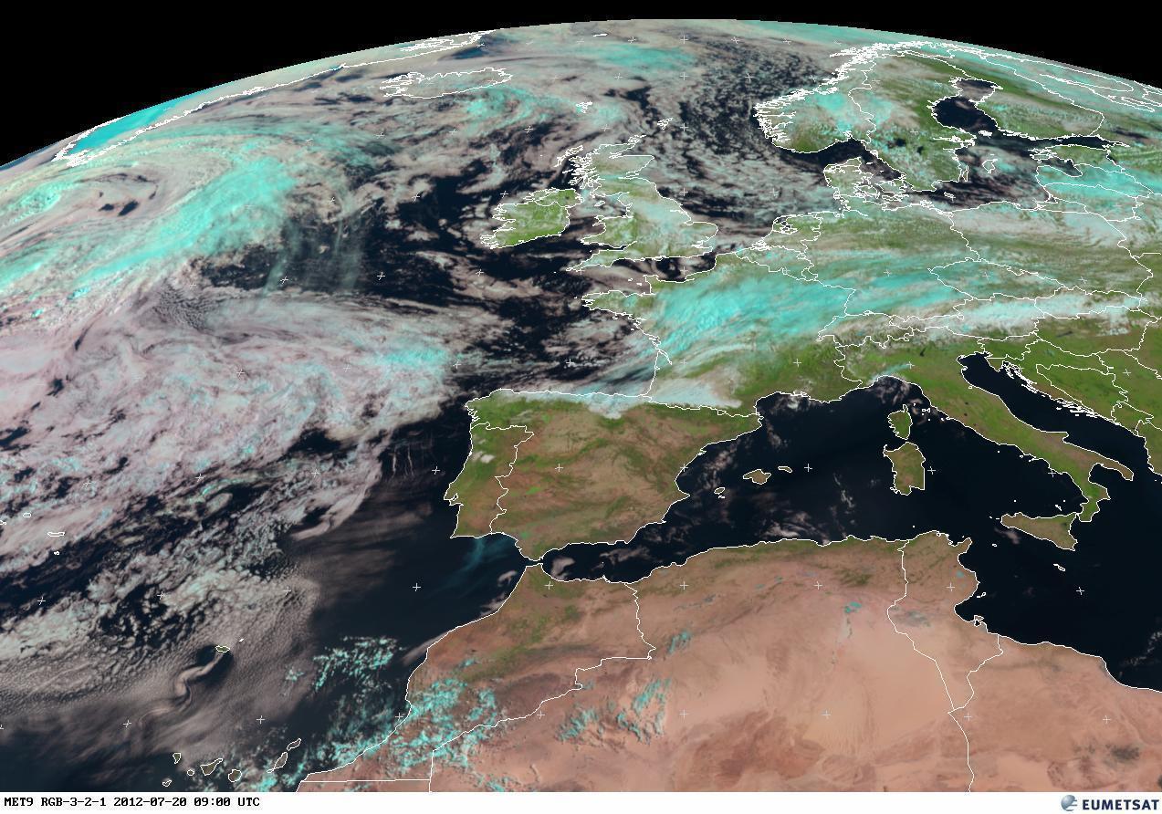 RGB sull'Europa, tempo instabile in avvicinamento per Sabato 21 Luglio 2012