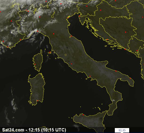 Bel tempo su gran parte d'Italia - Satellite ore 12.15