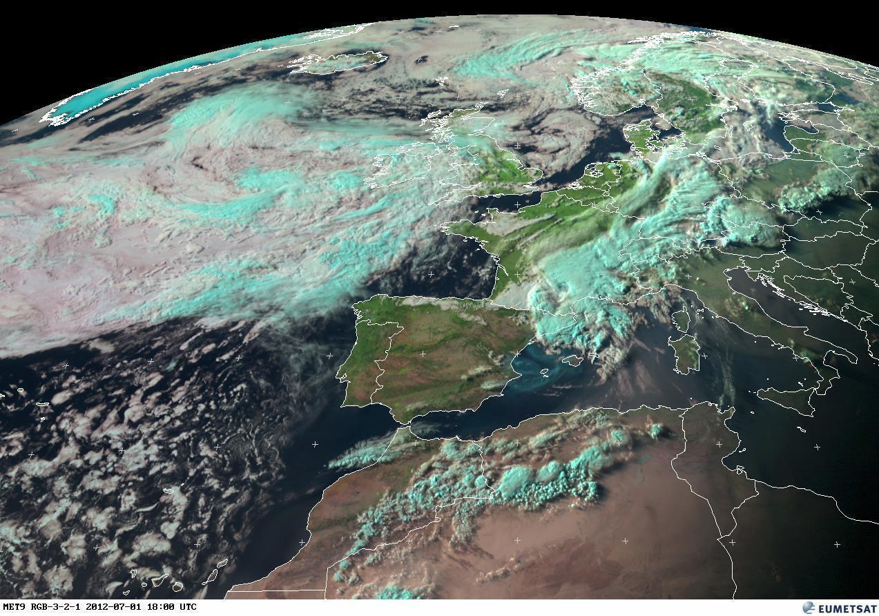 Situazione satellitare della sera del 1° Luglio (RGB)