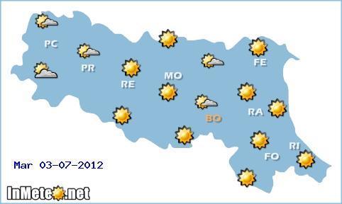 Meteo Emilia domani 3 Luglio 2012: caldo in attenuazione