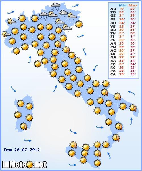 Previsioni Meteo Domenica 29 Luglio 2012