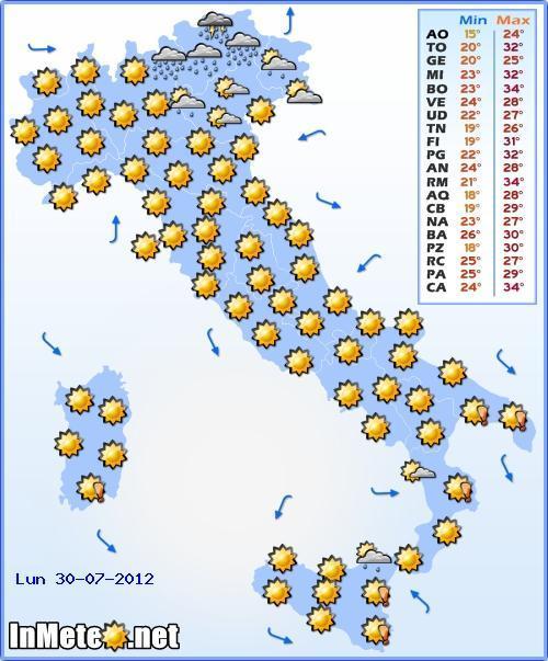 Previsioni Meteo Lunedi 30 Luglio 2012