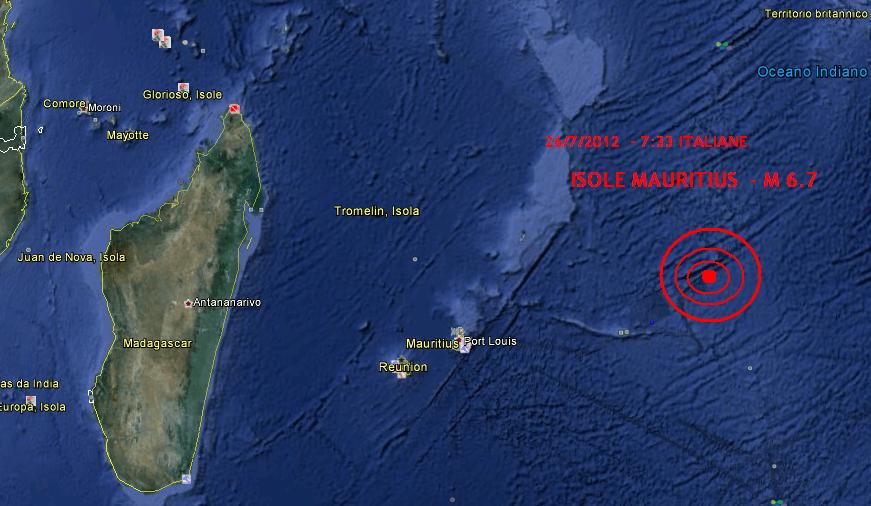 Terremoto 6.7 Isole Mauritius