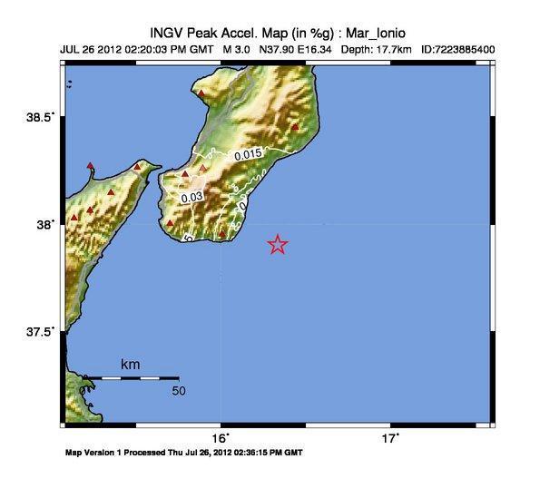 Terremoto magnitudo 3.0 nel Mar Ionio
