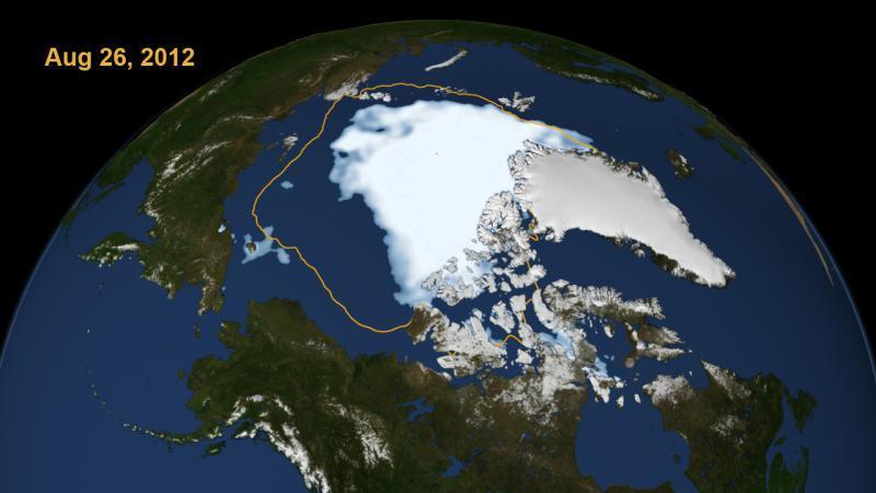 """Clima : ghiacci artici ai minimi trentennali. La linea gialla mostra l'estensione """"media"""" degli ultimi 30 anni. Dunque è evidente che l'attuale estensione è di molto inferiore al normale"""