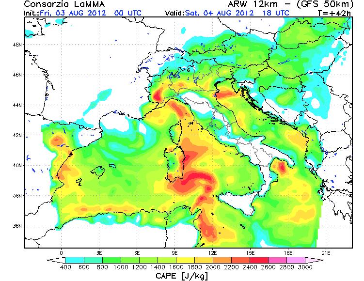 Previsioni Meteo Sabato 4 Agosto 2012 , indice Cape altissimo al Nord-Ovest