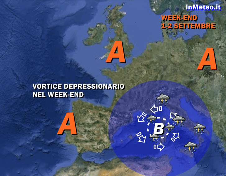 Meteo Week End - Vortice depressionario sull'Italia