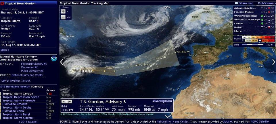 Il movimento previsto per la tempesta tropicale Gordon sull'Atlantico