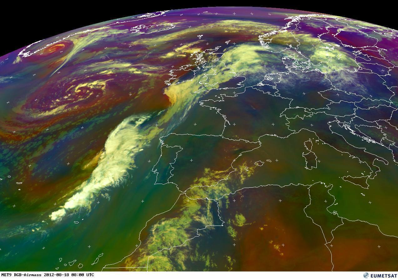 RGB, immagine satellitare. L'area in rosso e verde mostrano la presenza di aria molto calda
