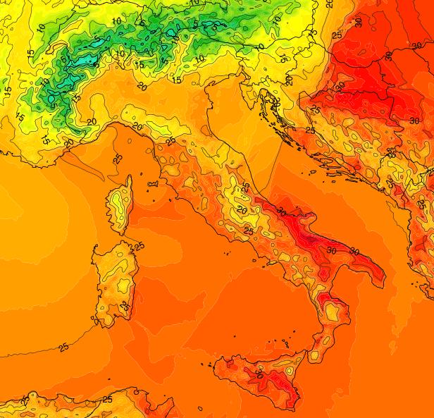 Temperature Italia - Valori previsti durante le ore centrali di Venerdi 31 Agosto. Fonte : www.meteonetwork.it