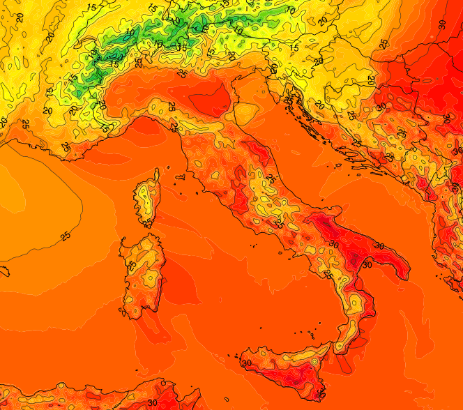 TEMPERATURE DOMENICA ORE 15.00 , calo termico generale al Nord. www.MeteoNetWork.it