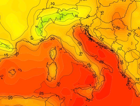 Crollo termico, temperature al suolo previste per la notte del 1° Settembre - Fonte : www.meteonetwork.it