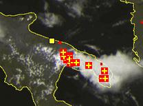 Temporali sul Salento, immagine satellitare fonte EUMETSAT