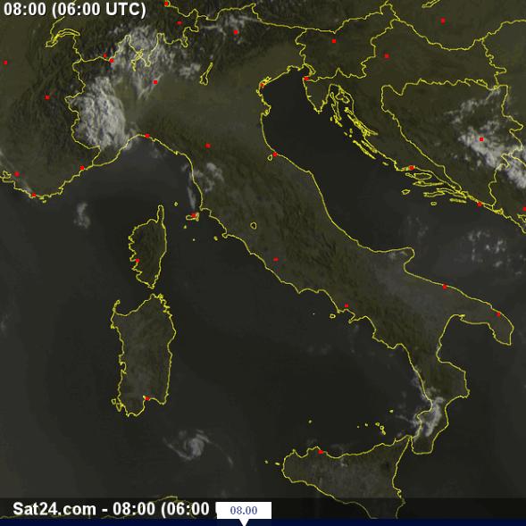 Bel tempo ovunque , scatto del Satellite ore 8.00