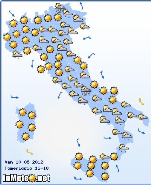 previsioni meteo italia venerdì 9 agosto 2012