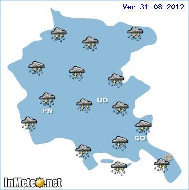 Maltempo Friuli , temporali diffusi oggi 31 Agosto