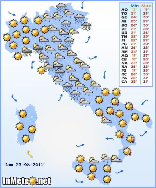 Previsioni meteo Domenica 26 Agosto 2012