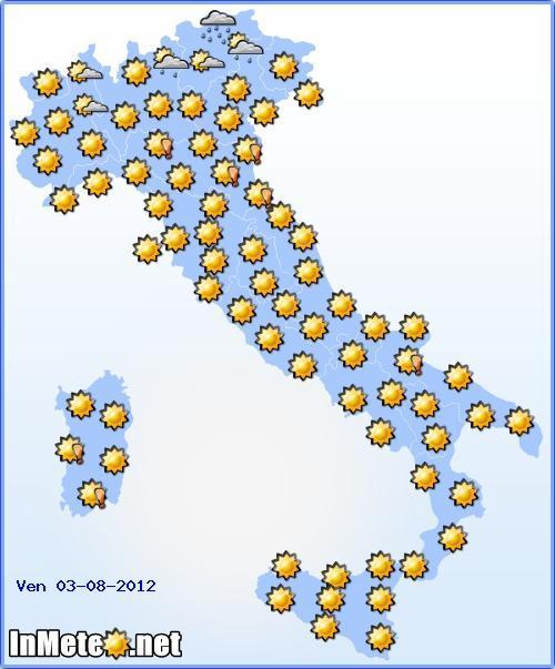 Previsioni Meteo Venerdi 3 Agosto 2012