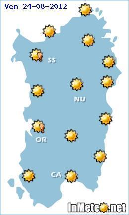 Meteo Sardegna 23-24-25 Agosto 2012, situazione per Venerdi