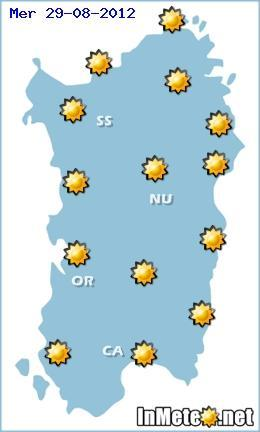 Meteo Sardegna 28-29-30 Agosto 2012 , previsioni per Mercoledi